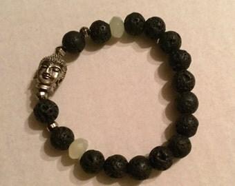 Jade and lava Buddha bracelet