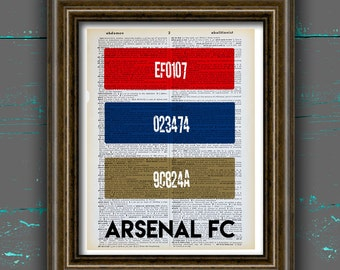 Arsenal FC print HEX color code arsenal poster gunners arsenal fc poster dictionary page Book Home Decor, DORM decor, Gift, Wall Art decor