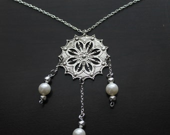 Silver and Pearl Dream Catcher Necklace