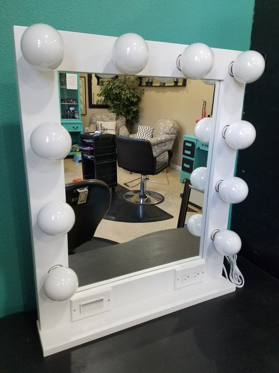 WHITE 24 X 28 Lighted Hollywood Style Glamour Vanity Mirror
