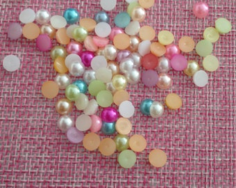 100 5 mm beads and scrapbooking decorating half r