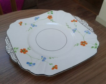 Thomas Forester (TF&S) Phoenix Floral Hand Painted Cake Plate