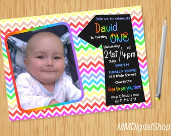Rainbow Birthday Invitation with Picture Printable