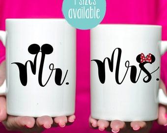Mr and Mrs Mugs, Mug Set, Set of 2 Mugs, Disney Mugs, Disney Mr and Mrs Mugs, Disney Mug, Mickey Mouse Mug, Minnie Mouse Mug, Mickey Ears