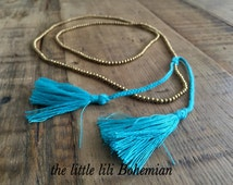 Turquoise Double Tassel Multi Strand Necklace/Boho Brass Necklace/Beaded Necklace/Tassel Necklace/Tassel Layered Necklace/Layering Necklace.