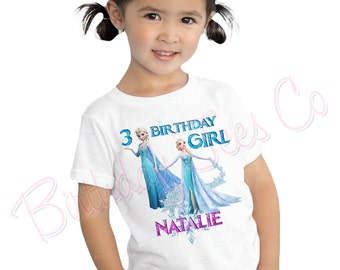 Customized Frozen Birthday Shirt Add Name & Age Frozen Queen Elsa Custom Birthday Shirt