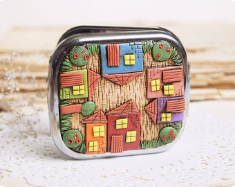 Fairy house Birthday gift for architect colorful houses unusual gifts for mom gift for coworker Whimsical accessory Folk art gift for wife