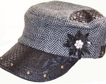 Bling Cadet Hat, Herringbone Military Cap, Biker Cap, Women's Black Cap, Biker Hat, Cadet Cap, Rhinestone, Trendy Fashion, Leather like look