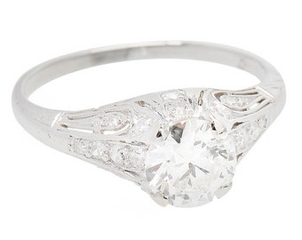 Platinum Diamond Engagement Ring .87 ct H-I Color, VS2 - Vintange 1920's