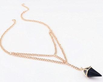 Punk Crystal Diamond Pendant Necklace