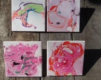 Marbleized Ceramic Coasters/Tiles