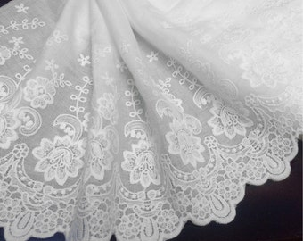 1y _ 23 cm Wide Broiderie Anglaise Swiss Cotton Voile, Bright White Color, Imported