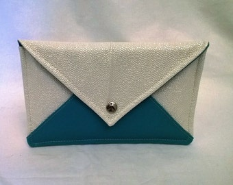 Turquoise ivory wedding clutch, clutch blue white wedding, evening ivory turquoise, turquoise, flat Pocket pouch