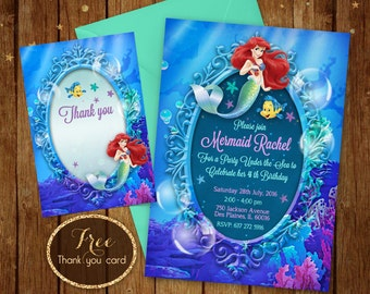 Little Mermaid Invitation - Printable Ariel Invitation - Disney Ariel Invite - Ariel Birthday Party Card - 5x7 or 4x6 - Free Thank you Card