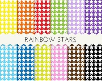 Rainbow Stars Digital Paper, 12 SHEETS 12x12 Inches Digital Scrapbooking Paper, Rainbow Paper Sheets, Stars Digital Papers Sheets