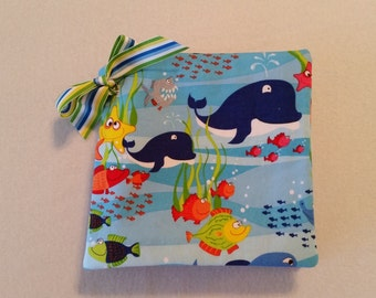 Ocean Animal Appliqued Soft Flannel First Baby Book Monogram available