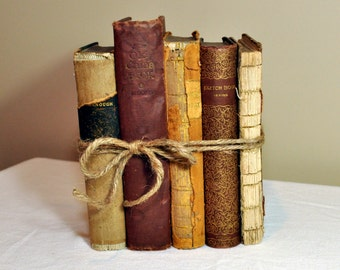 Vintage Book Bundle, Antique Books, Book Stack, French Country, Cottage, Farmhouse Style, Wedding, Photography Props, Shabby Chic, Old Books