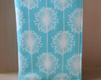 Passport slip case / fabric cover - UK & European Union - dandelion design [Blue]