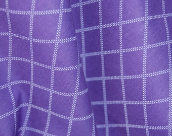 Purple Diamond Dash Cotton Fabric, Quilting Fabric, Purple and White Patterned, Geometric  fabric