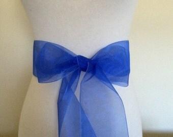 Royal blue organza  sash. 2.75 inch wide.  Blue Nylon organza sash. Bridal sash. Simple sash. Bridesmaid sash