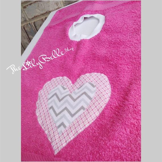 Gray And Pink Hearts: Pink And Gray Chevron Heart Bib