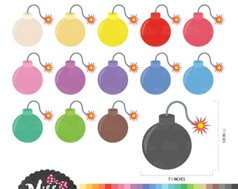30 Colors Cute Bomb/ Bombs Clipart - Instant Download