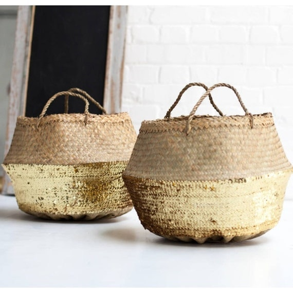 Seagrass belly basket gold sequin straw bag straw bag l panier - Diametre panier basket ...