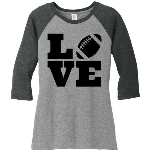Love Football, Sports, Baseball Raglan 2 Tone 3/4 Sleeve Womens Tops Shirts in Sizes Small-4X, Plus Size