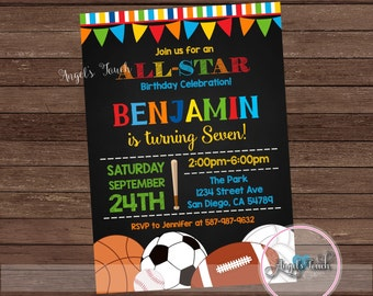 All Star Party Invitation, All-Star Birthday Invitation, All-Star Birthday Party Invitation, Sports Party Invitation, Digital File.