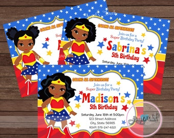 Wonder Woman Party Invitation, African American Wonder Woman Invitation, Wonder Woman African American Birthday Invitation, Digital File