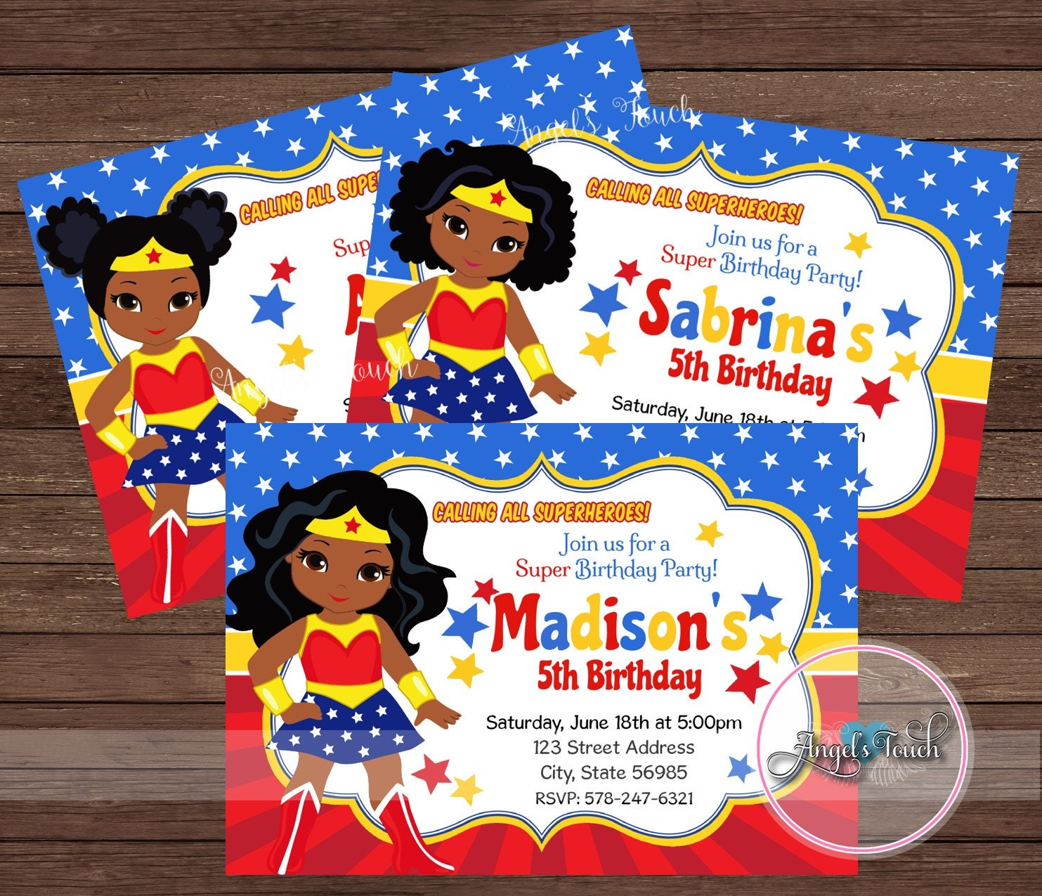 Wonder Woman Party Invitation African American Wonder Woman