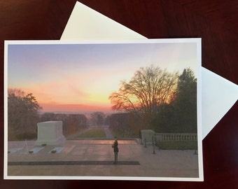 Photographic Greeting Card - Sunrise at the Tomb of the Unknown Solider - In Memoriam