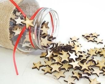 MINI Wood stars. Pack 10-25 or 50 units.