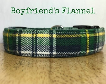 "Classic Green Yellow and White Flannel Dog Collar ""Boyfriend's Flannel"""