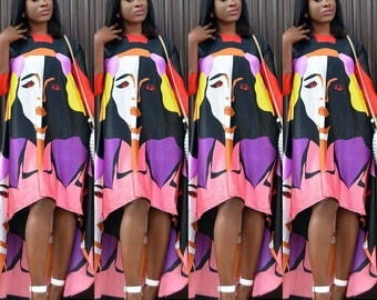 Trendy Faceprint red multicolored high low silk dress