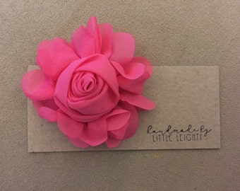 Hot pink floral hair clip - 4in