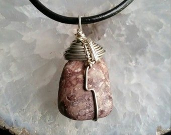 Wire wrapped cappuccino jasper