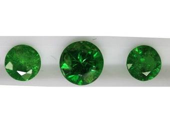 Tsavorite 2.00cts Set of (3) Round R235  Gemstones Round Loose Faceted Gemstones Green Gemstone Rare Jewelry Making