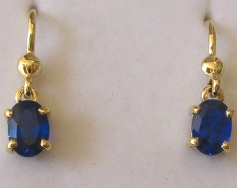 Genuine SOLID 9K 9ct YELLOW GOLD September Birthstone Sapphire Earrings