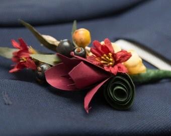 Custom Paper Flower Boutonniere