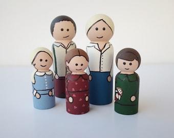 Little House on the Prairie Peg Dolls-Ingalls Family