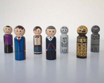 Doctor Who Collection Peg Dolls- The Doctor, Cyberman, Dalek, Weeping Angel