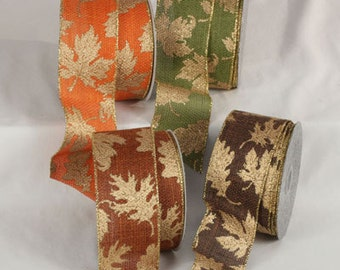 "2 1/2"" Wired Gold Leaves Ribbon - 4 Colors - 20 Yard Roll"