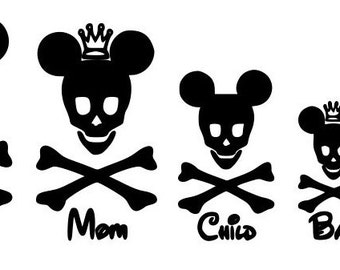 Mickey Mouse Skull Family Decal