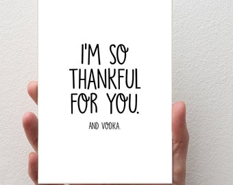 THANK YOU Greeting Card | C6 Size - Card and Envelope | Funny Cards, Vodka