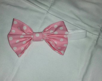 Pink with White Polka dot bow and Headband
