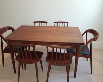Mid Century Modern Teak Danish Dining Table and Chairs