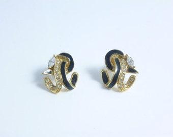 Abstract Earrings, Enamel Earrings, Crystal Earrings, Black and White Earrings, Vintage