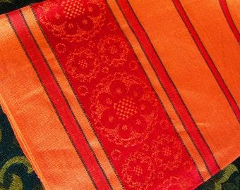 Linen tea towel dish cloth made in Czechoslovakia bright orange woven flower pattern retro vintage 70s never used.