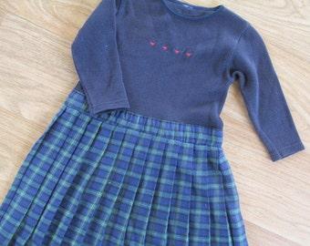 Girls dress tartan girls long sleeve dress girls winter dress blue dress girls vintage dress size 4.